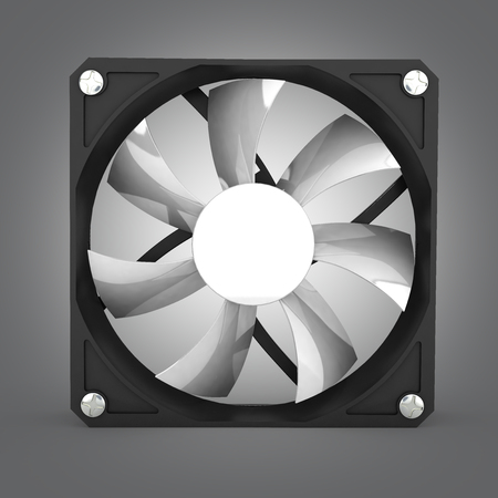 heat sink: computer cooler isolated on grey gradient background 3d illustration Stock Photo