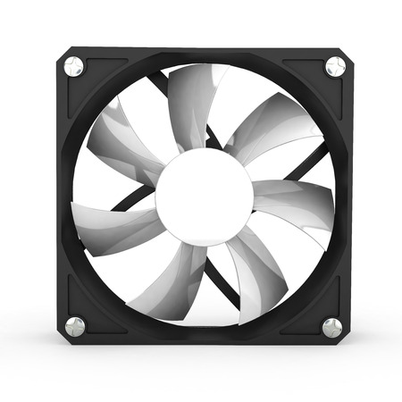 heat sink: computer cooler isolated on white background 3d illustration Stock Photo