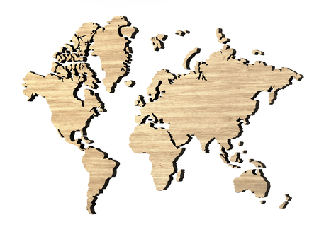 wooden map of the world on white background 3d