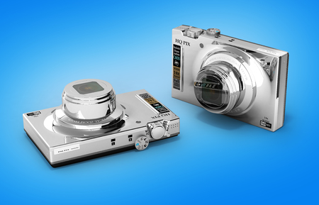 digital photo camera isolated on gradient background 3d