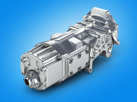 car gearbox isolated on gradient background.3D illustration. Stock Photo