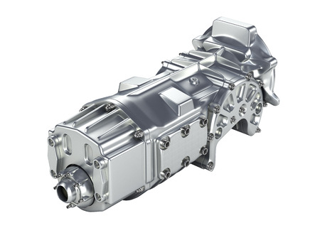 car gearbox without shadow on gradient background.3D illustration. Stock Photo