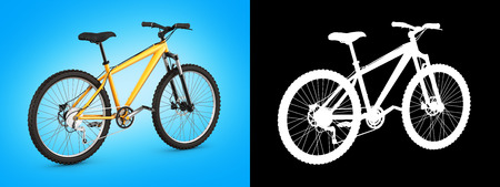 mountain bike isolated on blue gradient with alpha background 3d