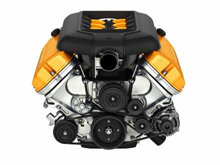Automotive engine without shadow isolated on white background.3D illustration.