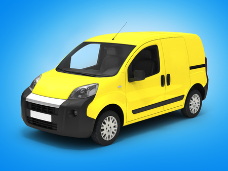 Delivery car on blue gradient white.3D illustration. Stock Photo