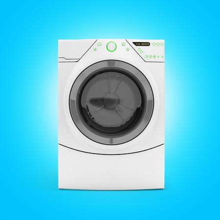revolve: Washing machine on blue gradient background 3d render