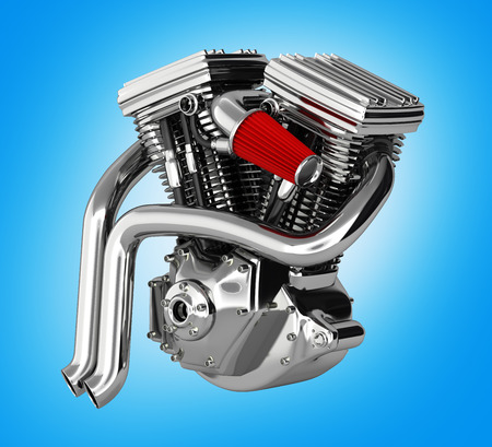 Motorcycle engine v twin isolated on blue gradient background 3d render Stock Photo