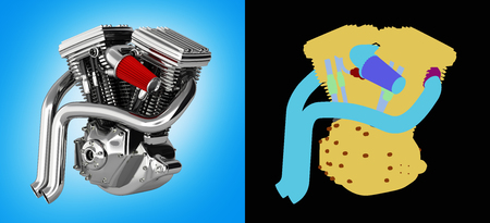 Motorcycle engine v twin isolated on blue gradient background with alpha colour 3d