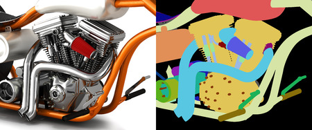 Motorcycle engine v twin with alpha colour 3d render