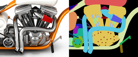Motorcycle engine v twin with alpha colour 3d