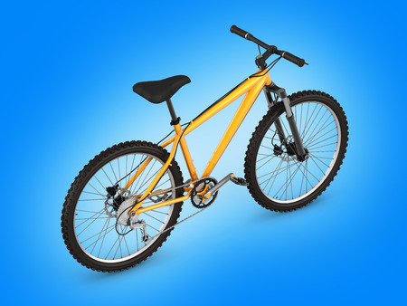 blue gradient: mountain bike isolated on blue gradient background 3d render
