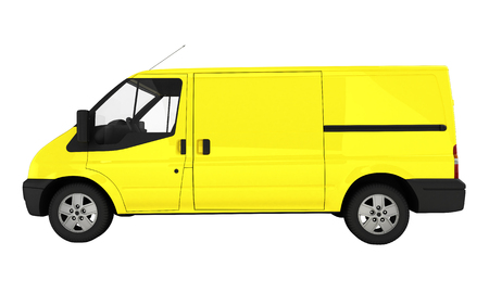 hauler: Yellow delivery van without shadow on white background 3D illustration