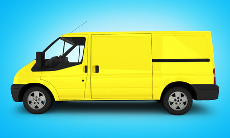 Yellow delivery van on blue gradient background 3D