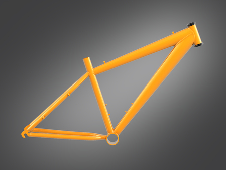 MTB frame isolated on grey gradient background 3d illustration
