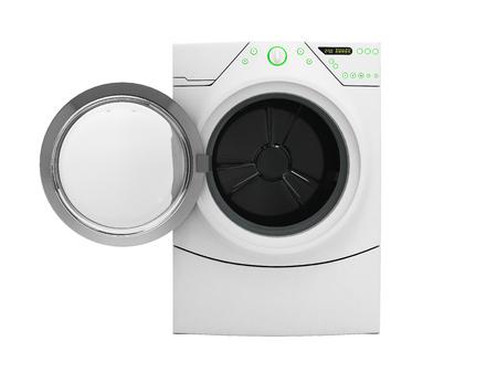 Isolierte Waschmaschine bei geöffneter Tür ohne Schatten auf weißem 3D