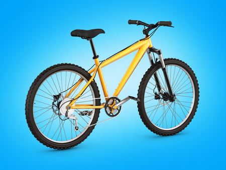 mountain bike isolated on blue gradient background 3d