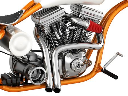 Motorcycle engine v twin 3d illustration