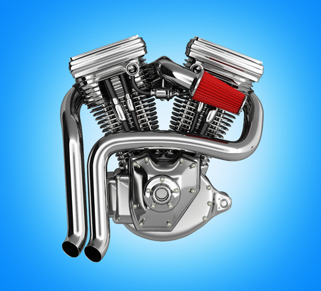 Motorcycle engine v twin on gradient background 3d Stock Photo