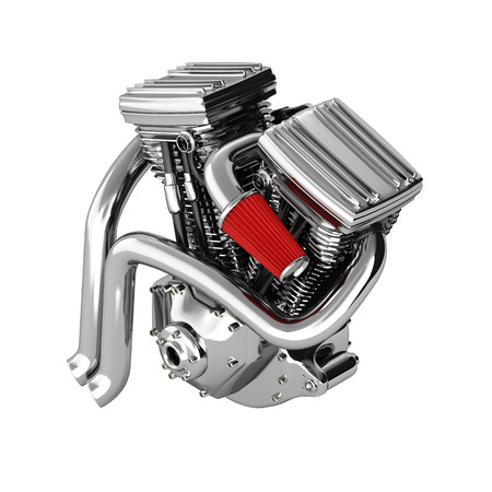 Motorcycle engine v twin isolated on white background 3d