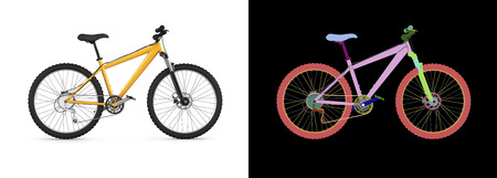 mountain bike isolated on white background with wirecolor 3d