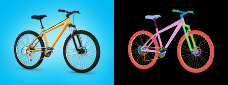 mountain bike on blue gradient background with alpha colour 3d illustration