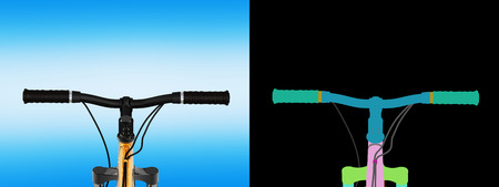 view of the bicycle handlebar on blue gradient background with alpha colour 3d render Stock Photo