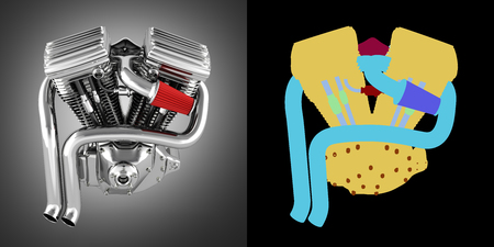 Motorcycle engine v twin on grey gradient background with alpha colour 3d Stock Photo