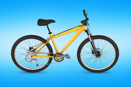 mountain bike isolated on blue gradient background 3d render