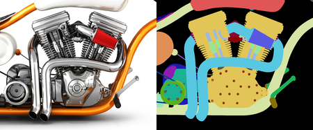 Motorcycle engine v twin isolated on white background with alpha colour 3d illustration Stock Photo