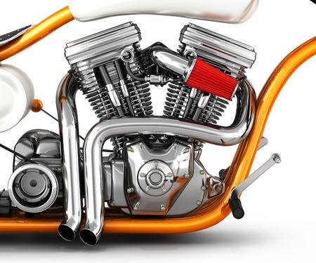 Motorcycle engine v twin isolated on white background 3d illustration