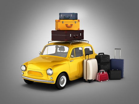 baggage: Little retro car with suitcases and bags, travel concept on grey gradient background.3d render.