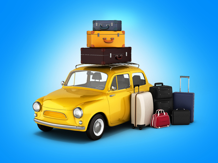 Little retro car with suitcases and bags, travel concept on gradient background.3d render.