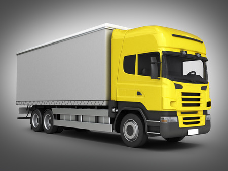 Yellow delivery truck on grey gradient background 3D