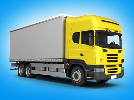Yellow delivery truck on blue gradient background 3D