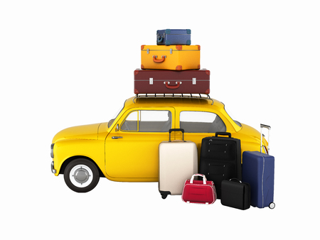 Little retro car with suitcases and bags, travel concept without shadows 3d Stock Photo