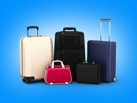 luggage carrier: Suitcases and bags, travel concept on blue gradient backround 3d