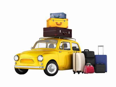 suitcase packing: Little retro car with suitcases and bags, travel concept witout shadows 3d Stock Photo