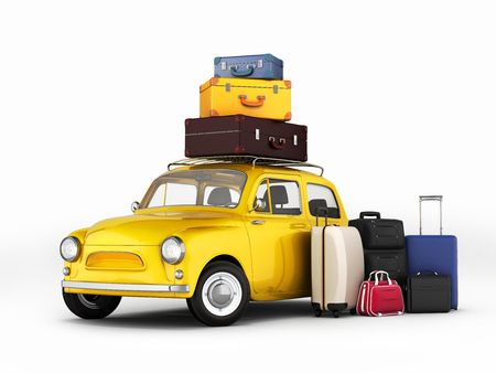 Little retro car with suitcases and bags, travel concept 3d Stock Photo