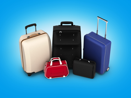 Suitcases and bags, travel concept on blue gradient background 3d render