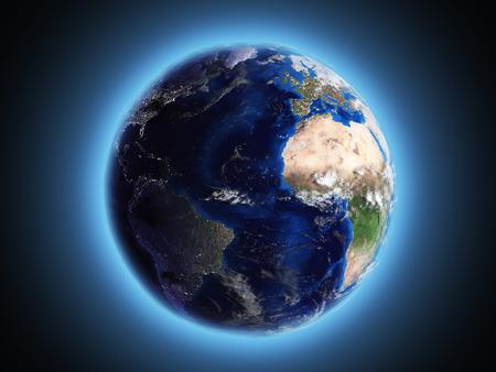 3d nitrogen: planet Earth shines in space 3d render