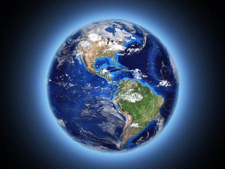 planet Earth shines in space 3d