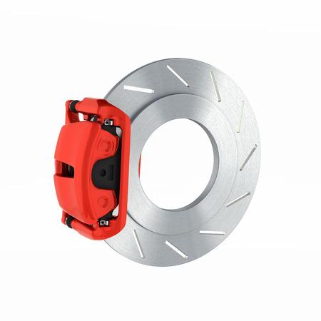 aeration: Automobile braking system.Car part steel brake disk on white background 3d.