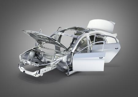 automobile door: body car with no wheel on grey gradient background 3d