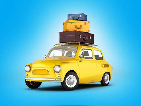 suitcase packing: Little retro car with bags travel concept on blue gradient background 3d Stock Photo