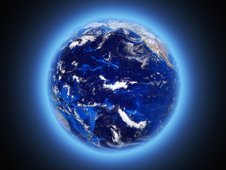planet Earth shines view from space 3d Stock Photo