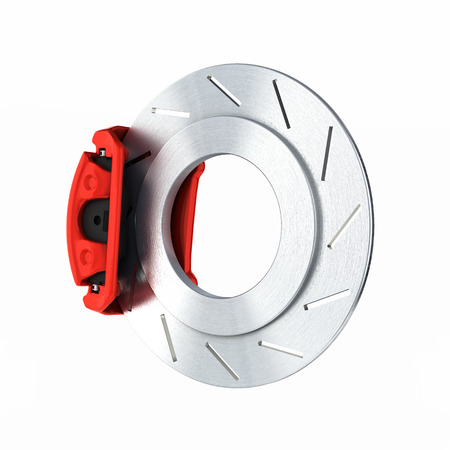 Automobile braking system.Car part steel brake disk on white background 3d.