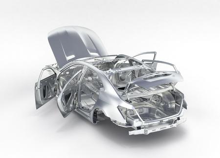 carrosserie zonder wielperspectiefmening op witte 3d achtergrond wordt geïsoleerd die
