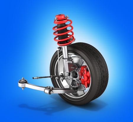 suspension of the car with wheel without shadow blue background 3d Stock Photo
