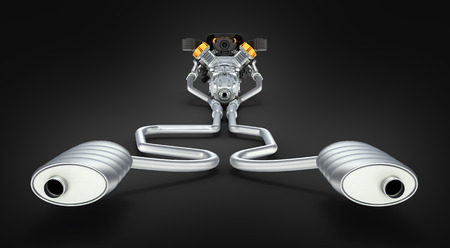 exhaust system: Exhaust pipes system with engine back view on black background 3D Stock Photo