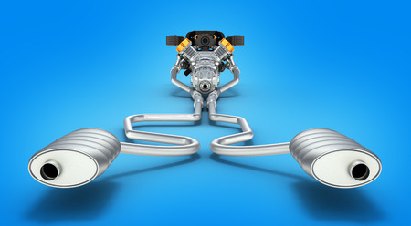 exhaust system: Exhaust pipes system with engine back view on blue gradient background 3D